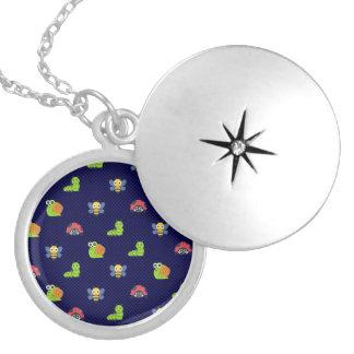 emoji lady bug caterpillar snail bee polka dots locket necklace