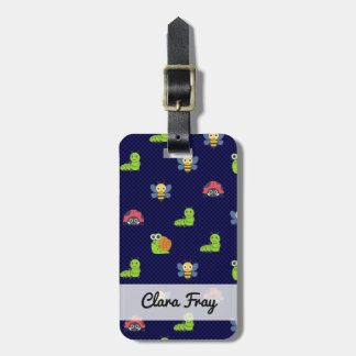 emoji lady bug caterpillar snail bee polka dots luggage tag
