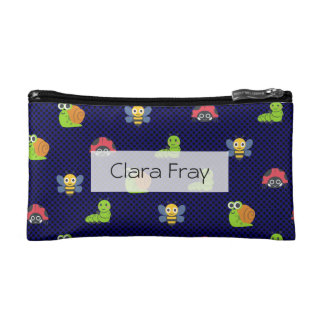 emoji lady bug caterpillar snail bee polka dots makeup bag