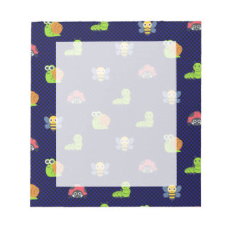 emoji lady bug caterpillar snail bee polka dots notepad