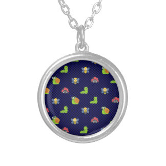 emoji lady bug caterpillar snail bee polka dots silver plated necklace