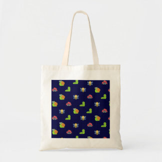 emoji lady bug caterpillar snail bee polka dots tote bag