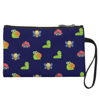emoji lady bug caterpillar snail bee polka dots wristlet