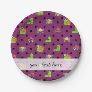 Emoji lady bug snail bee caterpillar polka dots 7 inch paper plate