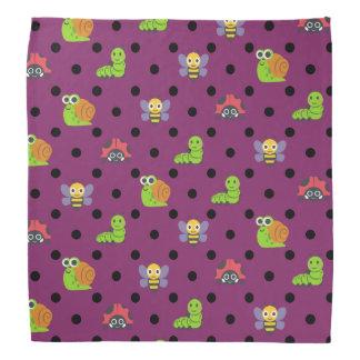 Emoji lady bug snail bee caterpillar polka dots bandana
