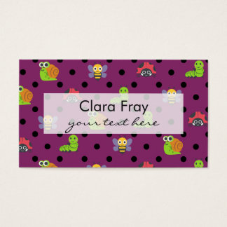 Emoji lady bug snail bee caterpillar polka dots business card