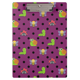 Emoji lady bug snail bee caterpillar polka dots clipboard