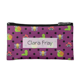 Emoji lady bug snail bee caterpillar polka dots cosmetic bag