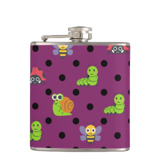 Emoji lady bug snail bee caterpillar polka dots flask