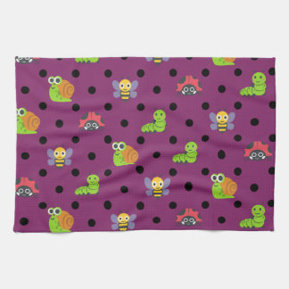 Emoji lady bug snail bee caterpillar polka dots hand towels