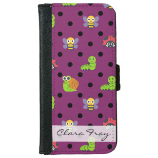 Emoji lady bug snail bee caterpillar polka dots iPhone 6 wallet case