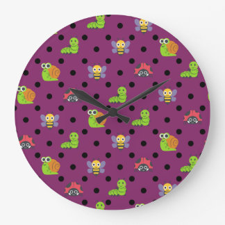 Emoji lady bug snail bee caterpillar polka dots large clock