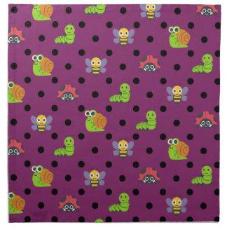 Emoji lady bug snail bee caterpillar polka dots napkin