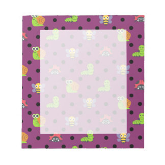 Emoji lady bug snail bee caterpillar polka dots notepad