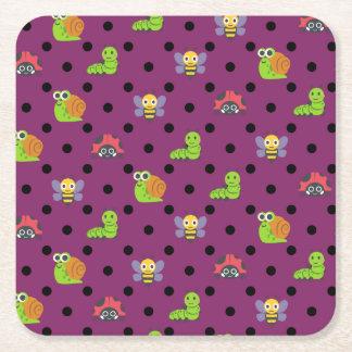 Emoji lady bug snail bee caterpillar polka dots square paper coaster