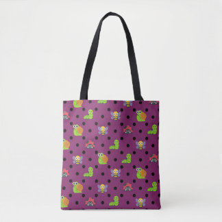 Emoji lady bug snail bee caterpillar polka dots tote bag
