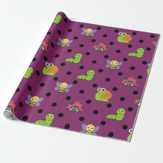 Emoji lady bug snail bee caterpillar polka dots wrapping paper