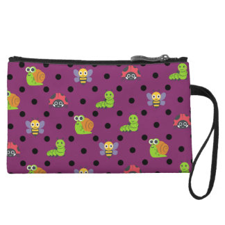 Emoji lady bug snail bee caterpillar polka dots wristlet