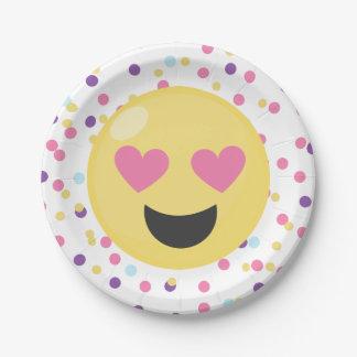 Emoji Love Polka Dot Paper Plates