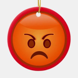 Emoji Mad Face Ceramic Ornament