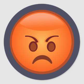 Emoji Mad Face Classic Round Sticker