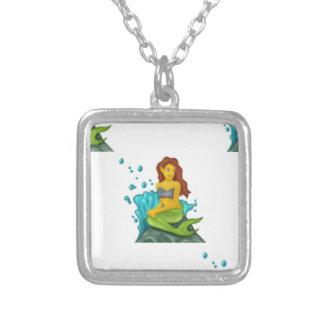 emoji mermaid silver plated necklace