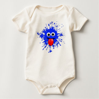 Emoji Motion Dabbing Blue Splatter Design Baby Bodysuit