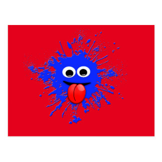 Emoji Motion Dabbing Blue Splatter Design Postcard