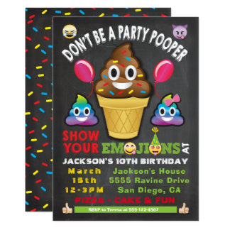 Emoji Party Icecream Pooper Birthday Invitation