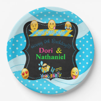 Emoji Pool Party Birthday Plates 9""