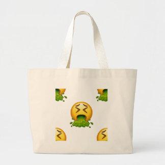 emoji puking large tote bag