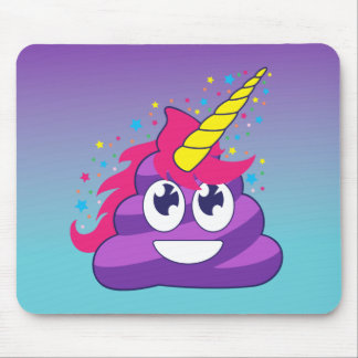 Emoji Purple Unicorn Poop Mouse Pad