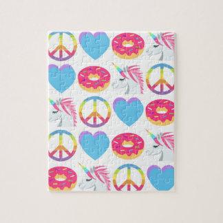 Emoji Puzzle -Peace, Love, Unicorns, and Donuts