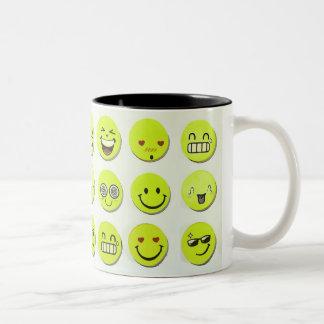 Emoji set happy smile faces cartoon artwork yellow Two-Tone coffee mug