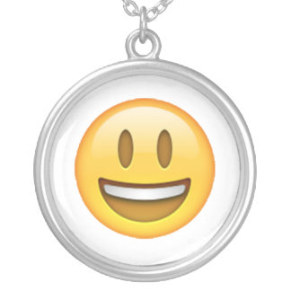 Emoji - Smile Open Eyes Silver Plated Necklace