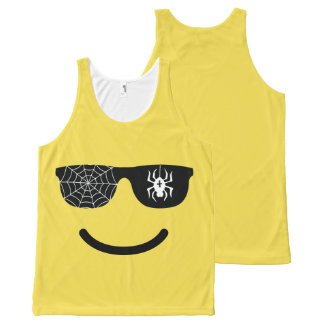 Emoji Smiling Face Funny Halloween Costume All-Over Print Singlet
