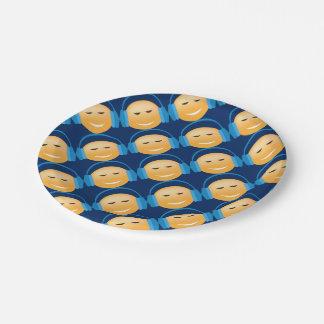 Emoji With Headphones 7 Inch Paper Plate