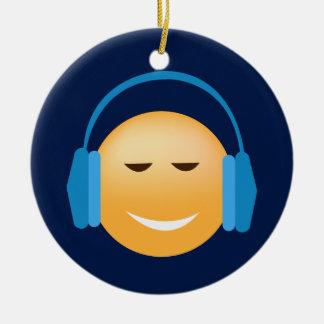 Emoji With Headphones Ceramic Ornament