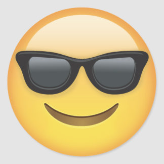 Emoji With Sunglasses Classic Round Sticker