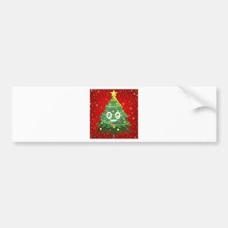 Emoji Xmas Tree Design Bumper Sticker