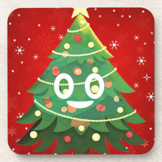 Emoji Xmas Tree Design Coaster