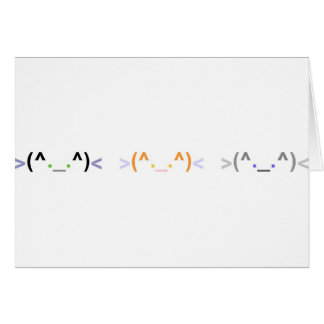 Emoticon 3 CUTE CATS Card - Horizontal Design