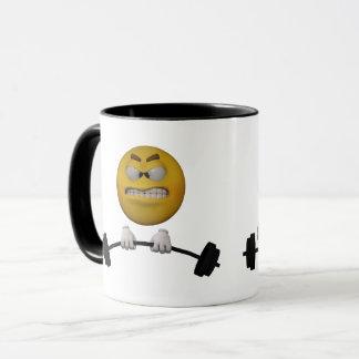 Emoticon lifting weights, cartoon style mug