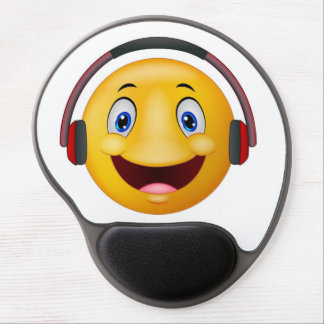 Emoticon listening music gel mouse pad