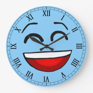 emotion blue smiley large clock