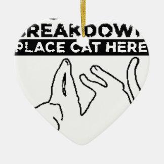 EMOTIONAL BREAKDOWN CAT CERAMIC HEART DECORATION