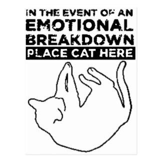 EMOTIONAL BREAKDOWN CAT POSTCARD