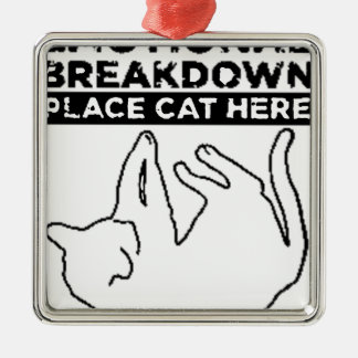 EMOTIONAL BREAKDOWN CAT Silver-Colored SQUARE DECORATION