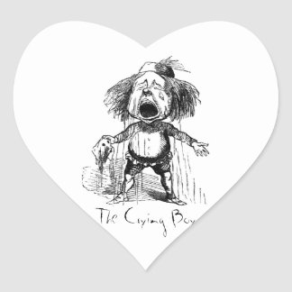 Emotional Crying Boy Funny Vintage Cartoon Drawing Heart Sticker