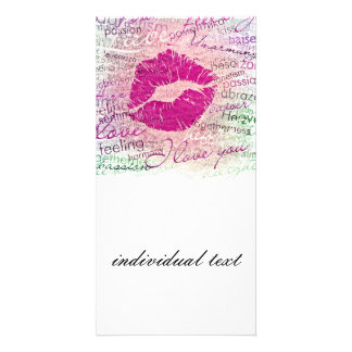 emotional kiss pink picture card